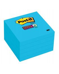 Post-it Super 2X Sticking Bright Blue Sticky Notes, 3x3 Sticky Notes 5 Pads/Pack, 90 Sheets/Pad