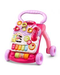 Baby Push Walker Sit-to-Stand VTech Pink Interactive Learning Walker Toddler Toys