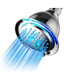 High Pressure all-Chrome 4-setting color changing LED shower head, PowerSpa