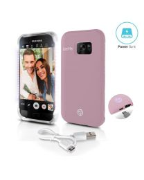 Samsung Galaxy S 7 Phone case Pink, LED Lighted Selfie Case w Built-in Power Bank