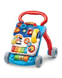 Baby Push Walker Sit-to-Stand VTech Blue Interactive Learning Walker Toddler Toys