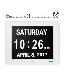 SSA 8'' Digital Calendar Day Clock with Large Clear Time Day and Date display